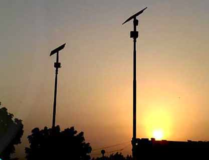 90W Solar Street Lighting System for 13 hours basis installed at Thana Bula Khan, 9 Nos complete system with poles.