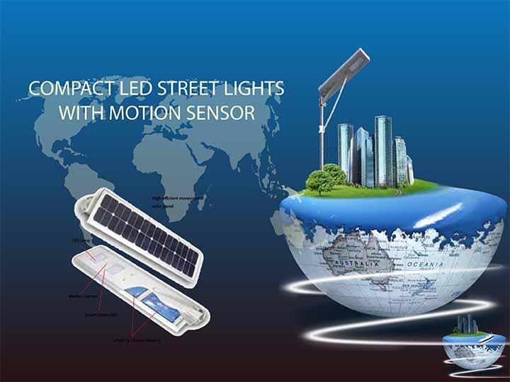 compact led street lights with motion sensor and solar integrated