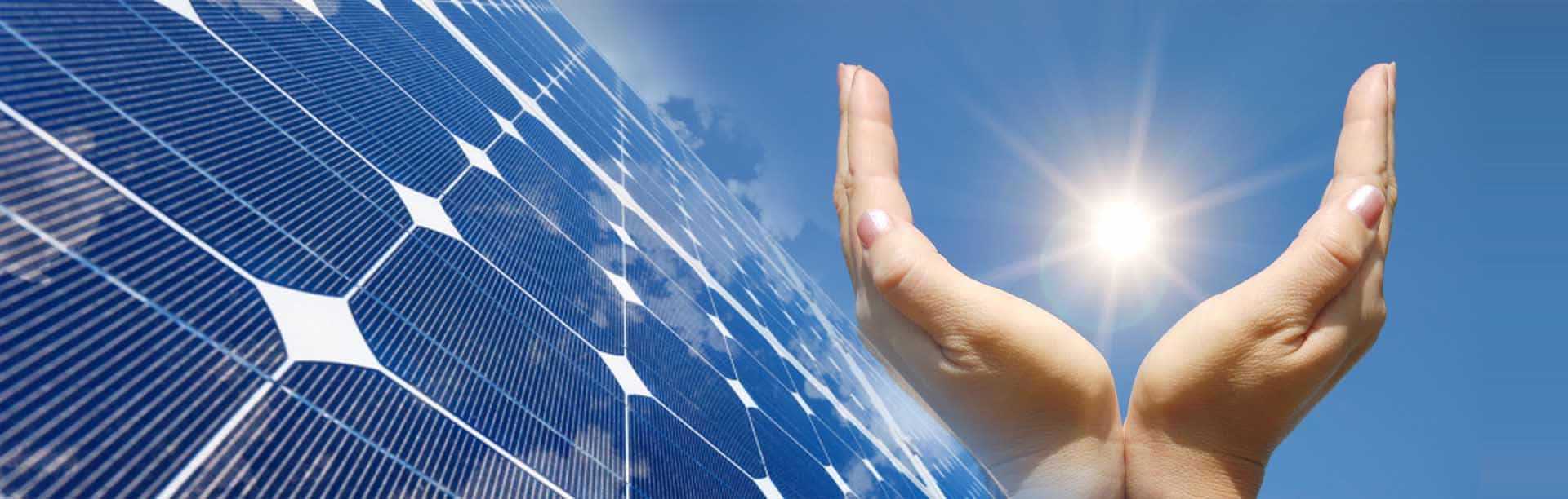solar panel background image with covering solar in hand