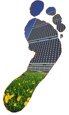 carbon foot print background solar panel and fileds